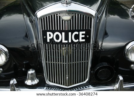 an old british police car - stock photo