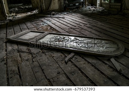 Old Broken Mirror On Floor Room Stock Photo & Image (Royalty-Free ...
