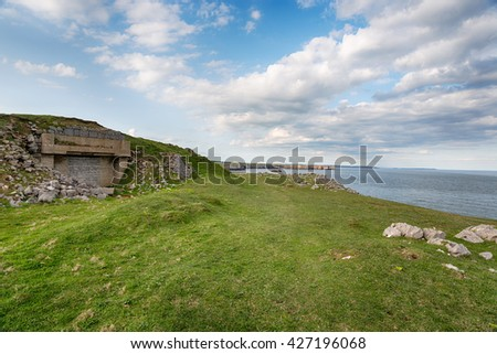 An old bunker on cliffs at St Govan's Head on the Pembrokeshire Coast National Park in Wales