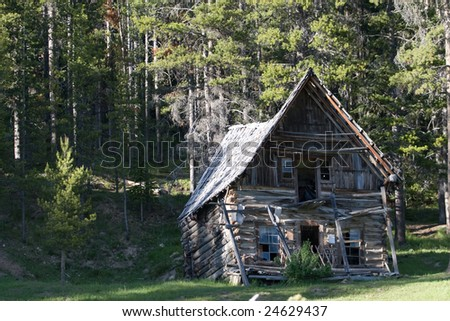 An old cabin in Burgdorf, Idaho. - stock photo