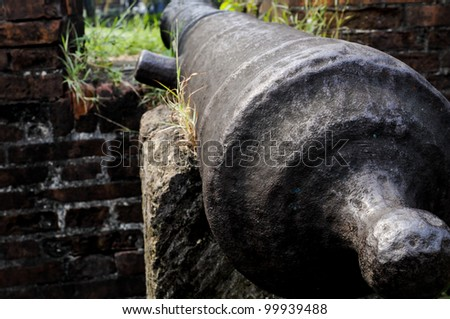 An old canon in a spanish fort in the Philippines - stock photo