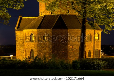 An old chapel at night in the old city of Nijmegen in the Netherlands. Aged over 2000 years, Nijmegen is the oldest city in the country. - stock photo