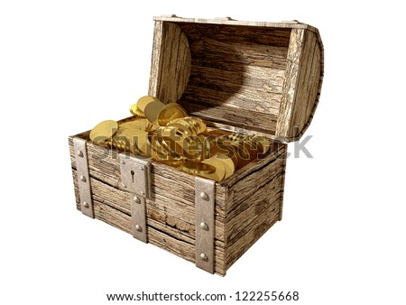 An old classic wood and iron open treasure chest with a metal lock filled with gold coins on an isolated background - stock photo