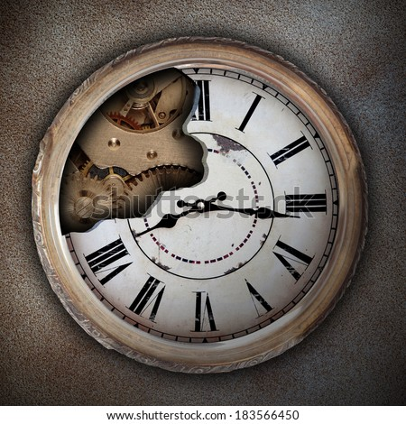 an old clock showing damaged machinery - stock photo