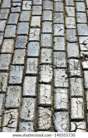 An old cobblestone street in San Juan, Puerto Rico - stock photo
