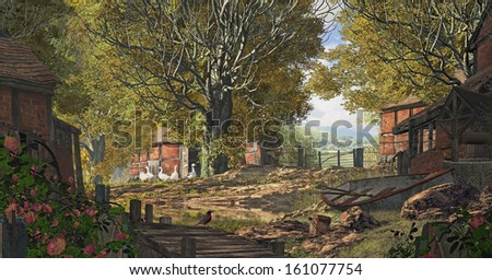 An old country farm scene placed in Yorkshire England, with brick barns, geese and rowboat. / Yorkshire Country Farm - stock photo