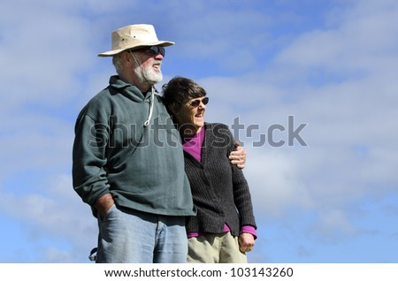 An old couple are smiling and happy. Concept photo of senior, citizen, adults, couple, retirement ,retired, grandparents, parents, elderly, people, plan, planning, future, love,health, medical care, - stock photo