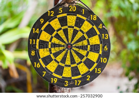 an old dart bullseye hanged on a tree in a tropical jungle - stock photo