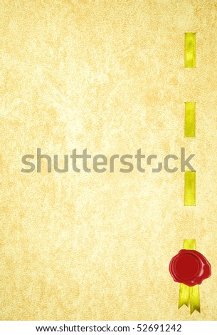 An old Diploma page with a golden silk ribbon and wax seal - stock photo