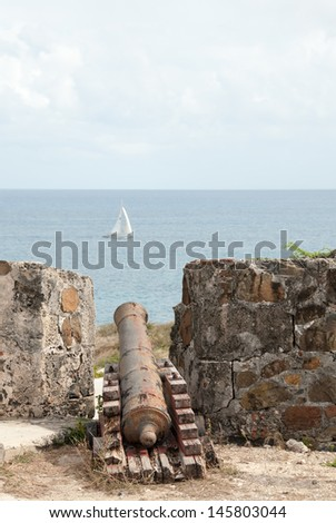 An Old Dutch Cannon from the Colonial Era Remains as a Relic of the Past - stock photo