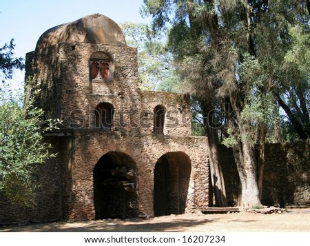 An old Ethiopian stone church in Gondor, Ethiopia