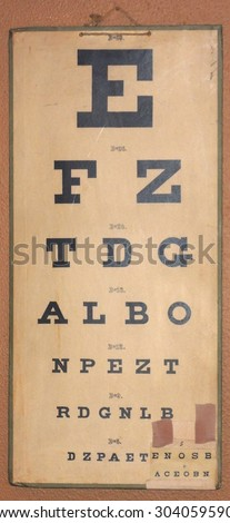 An old eye chart with an extra attached level of difficulty (lower right corner) - stock photo