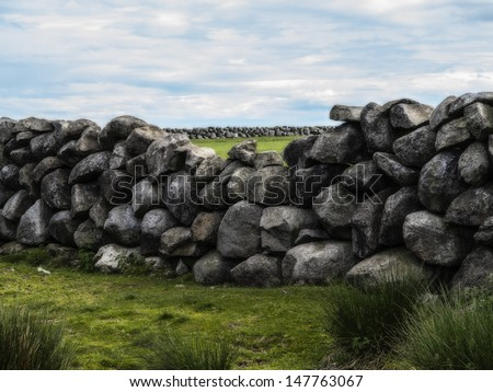 an old farm wall in the mournes ireland