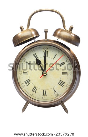 An old fashioned alarm clock at eleven oclock isolated on white with clipping path part 12 of 12