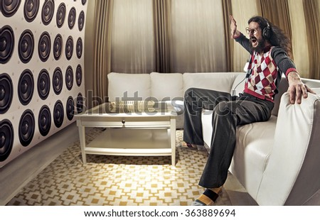 An old-fashioned audiophile - stock photo