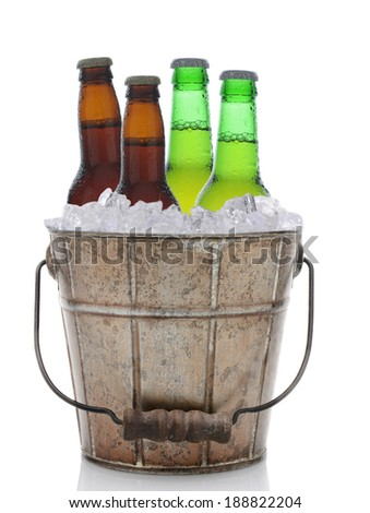 An old fashioned bucket filled with ice and beer bottles. Four brown and green bottles of beer are represented in vertical format on a white background with reflection.