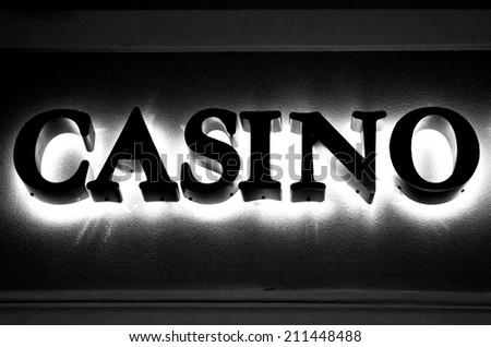 An old fashioned casino sign in the downtown area  - stock photo