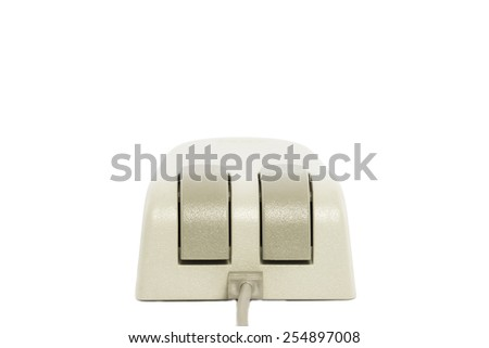 An old-fashioned computer mouse. All isolated on white background. - stock photo