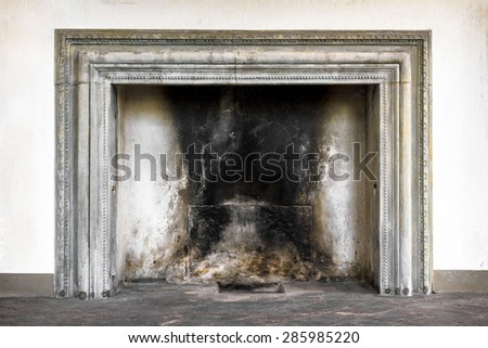 An old fireplace in a sanctuary Italian, from the medieval times. - stock photo