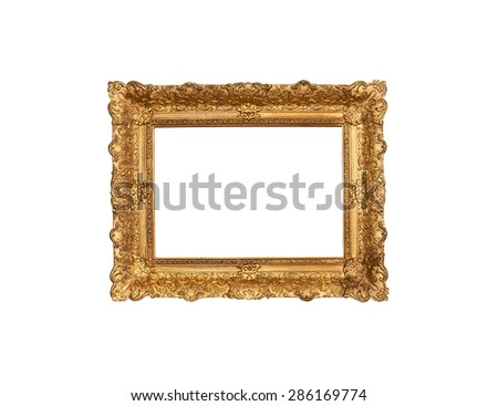 An old frame nineteenth century wood base plaster carvings and gold leaf on white background - stock photo