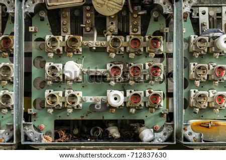 stock photo an old fuse box with cables and connectors 712837630 wiring box connector stock images, royalty free images & vectors Old Fuse Box Parts at edmiracle.co
