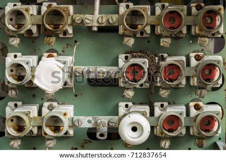 stock photo an old fuse box with cables and connectors 712837654 old fuse box cables connectors stock photo 712837654 shutterstock fuse box cable at aneh.co
