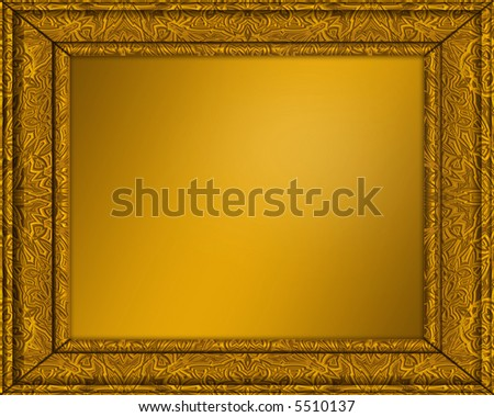 an old gold picture or certificate frame with golden centre