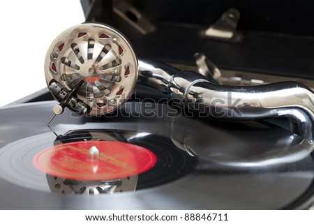 An old gramophone playing a vinyl record