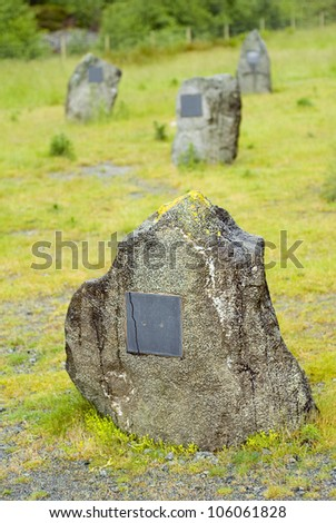 an old graveyard with large stones - stock photo