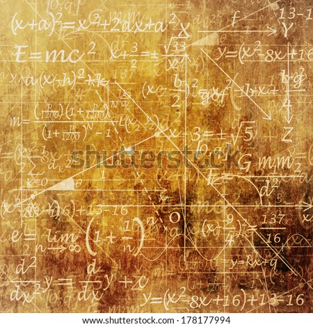 An Old Grunge Scientific Background with Mathematical Equations - stock photo