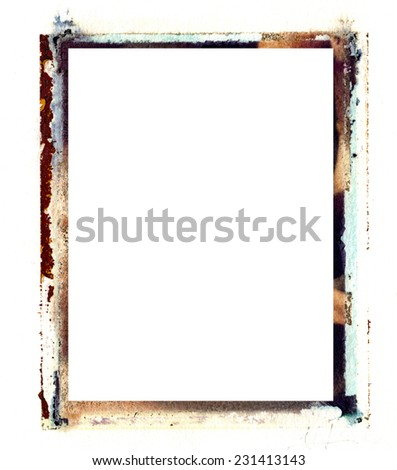 An old grungy polaroid transfer border can be used for any type of art and photo outline both vertical and horizontal. It adds texture and character to any project.