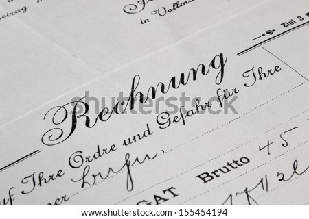 an old historical invoice - stock photo