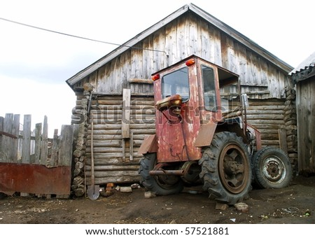 An old homemade agricultural wheel tractor