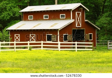 An old horse barn with room for your text - stock photo