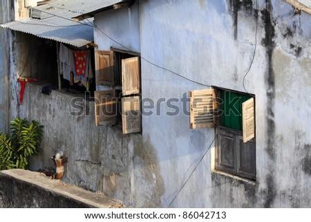 An old house in Stone Town, Zanzibar - stock photo