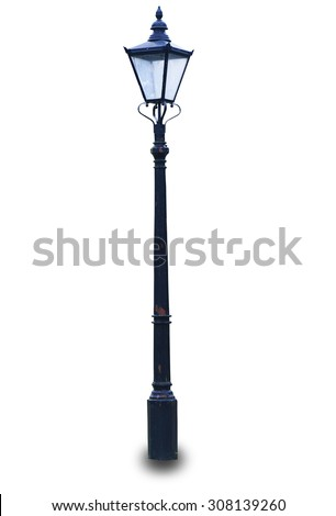 An old lamp post in London isolated on white