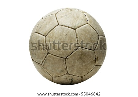 an old leather ball isolated on a white background