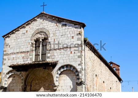 An old medieval roman church in Pistoia  - stock photo
