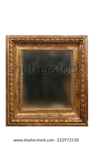 an old mirror in vintage golden frame isolated on white background - stock photo