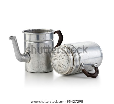 "An old moka ""napoletana"" on white background - With path - stock photo"