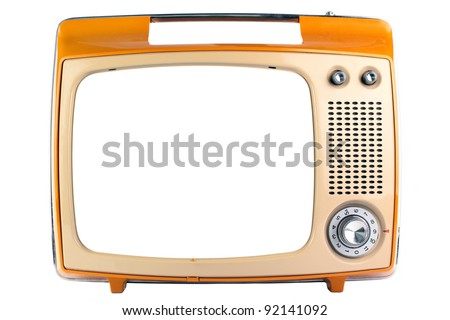 An old monochrome display TV, isolated on a white background. - stock photo
