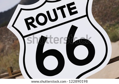 an old nostalgic route 66 sign, USA - stock photo