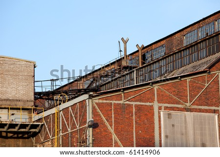 An old obsolete abandoned industrial building architecture
