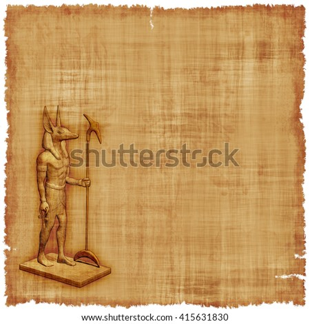 An old parchment featuring Anubis, God of the Underworld in ancient Egypt. Contains a 3D render. - stock photo