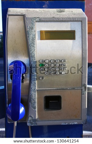 an old phone booth - stock photo