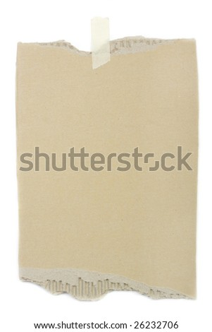 An old pice of blank cardboard, used as a note pad, isolated on white. - stock photo