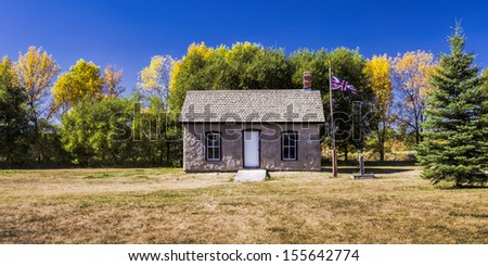 An old prairie outpost used by the Canadian police in 1895. - stock photo