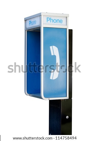 An old public telephone booth isolated on a pure white background. - stock photo