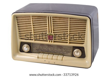 An old radio isolated on a white background - stock photo