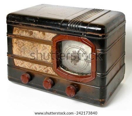 An old radio on a white background - stock photo